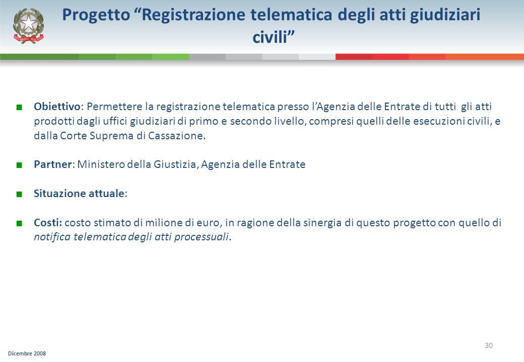 Progetto Registrazione telematica degli atti giudiziari civili
