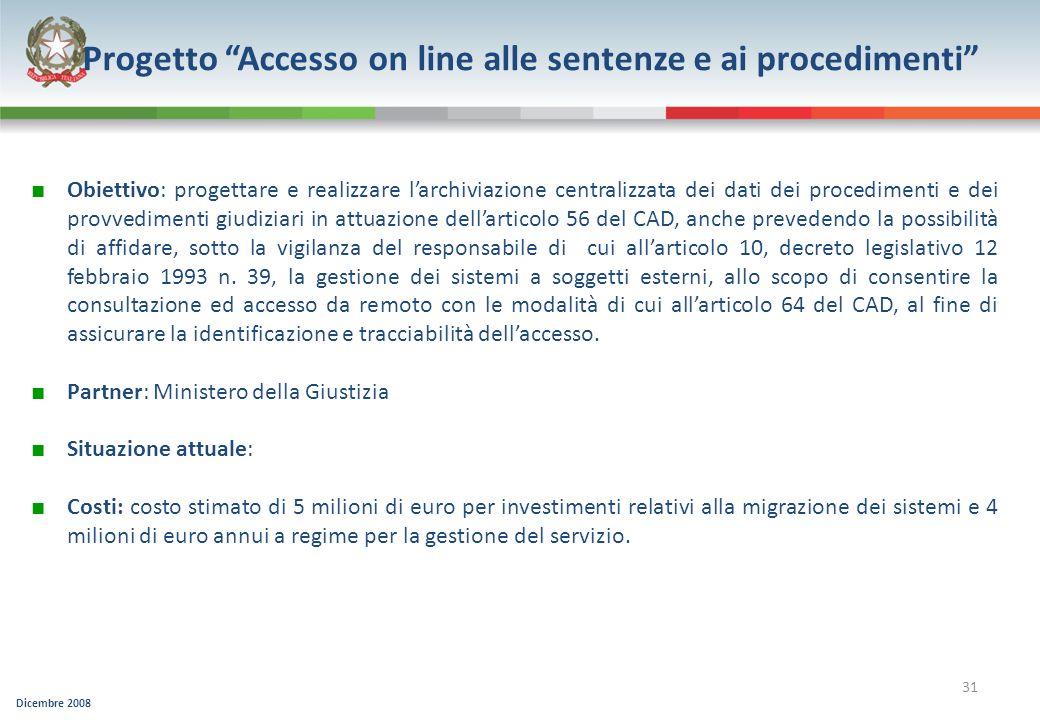 Progetto Accesso on line alle sentenze e ai procedimenti
