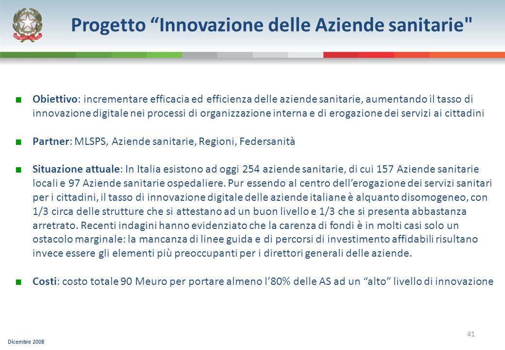 Progetto Innovazione delle Aziende sanitarie