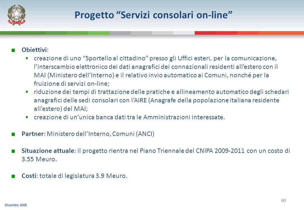 Progetto Servizi consolari on-line