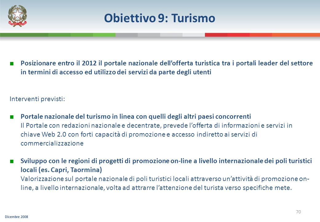 Obiettivo 9: Turismo