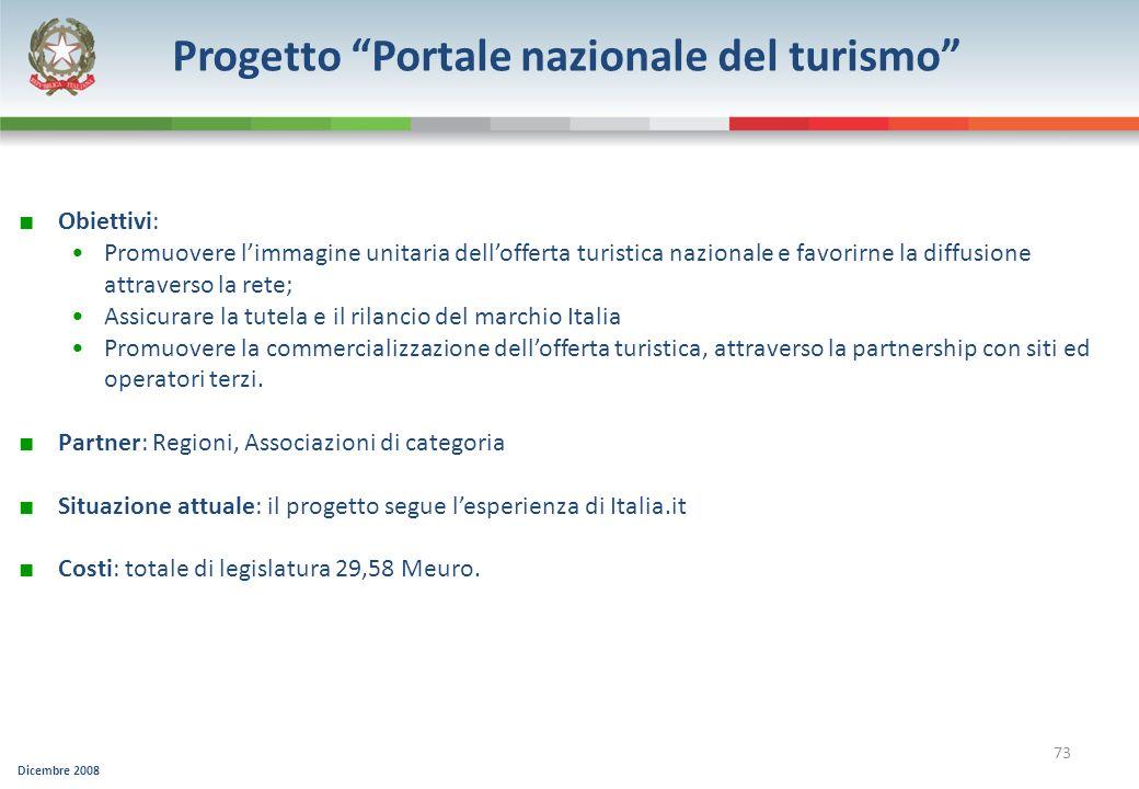 Progetto Portale nazionale del turismo