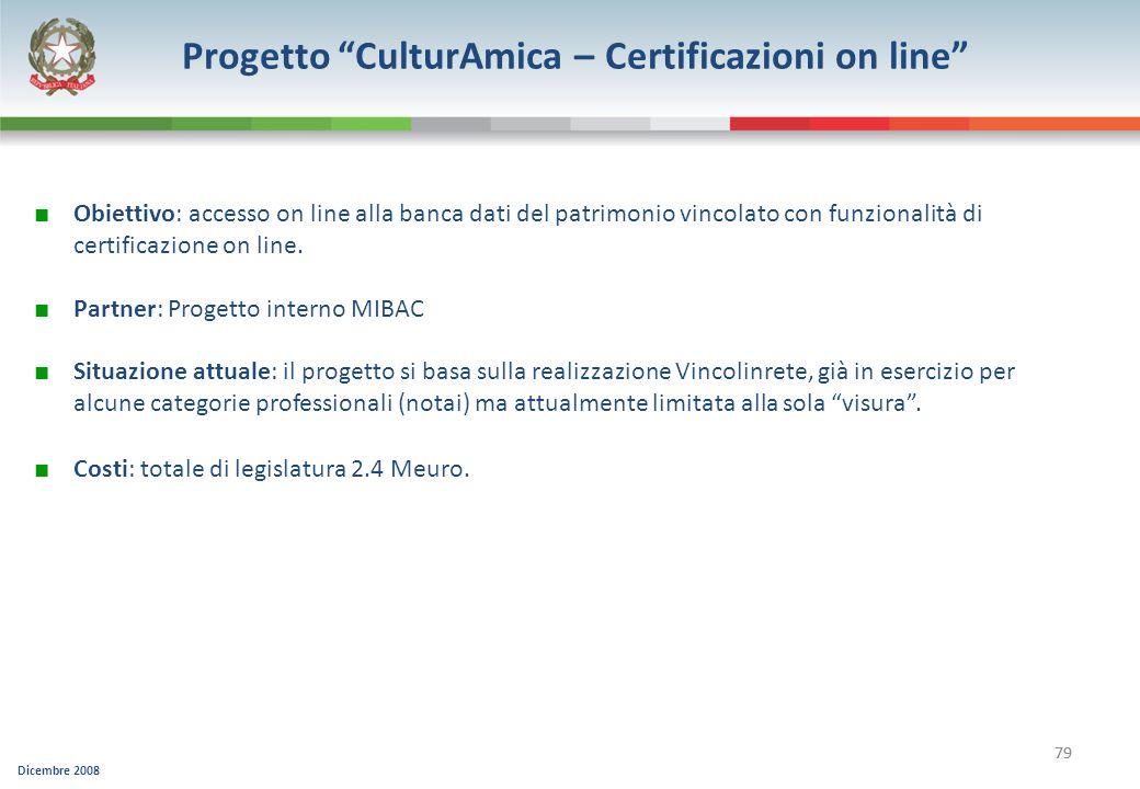 Progetto CulturAmica – Certificazioni on line