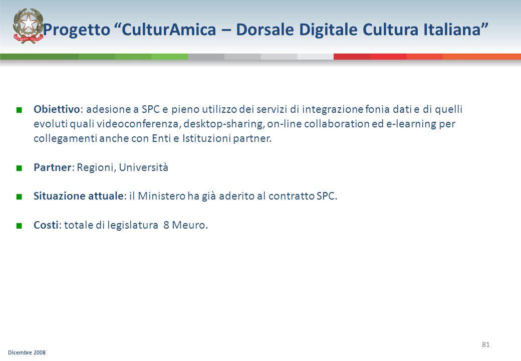 Progetto CulturAmica – Dorsale Digitale Cultura Italiana