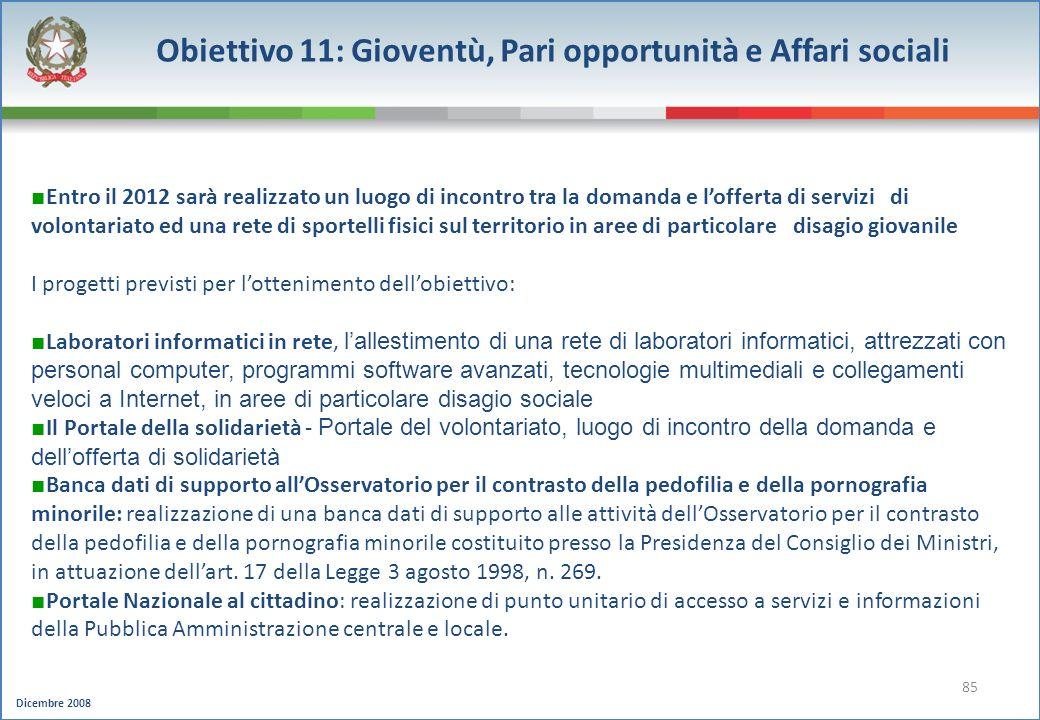 Obiettivo 11: Gioventù, Pari opportunità e Affari sociali