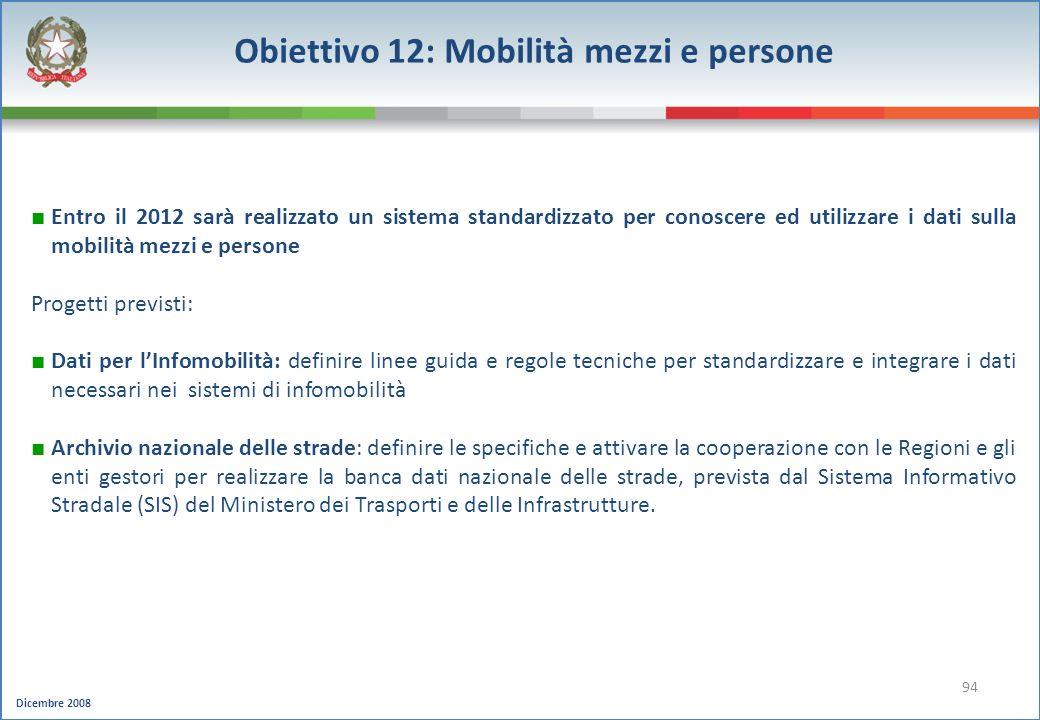 Obiettivo 12: Mobilità mezzi e persone