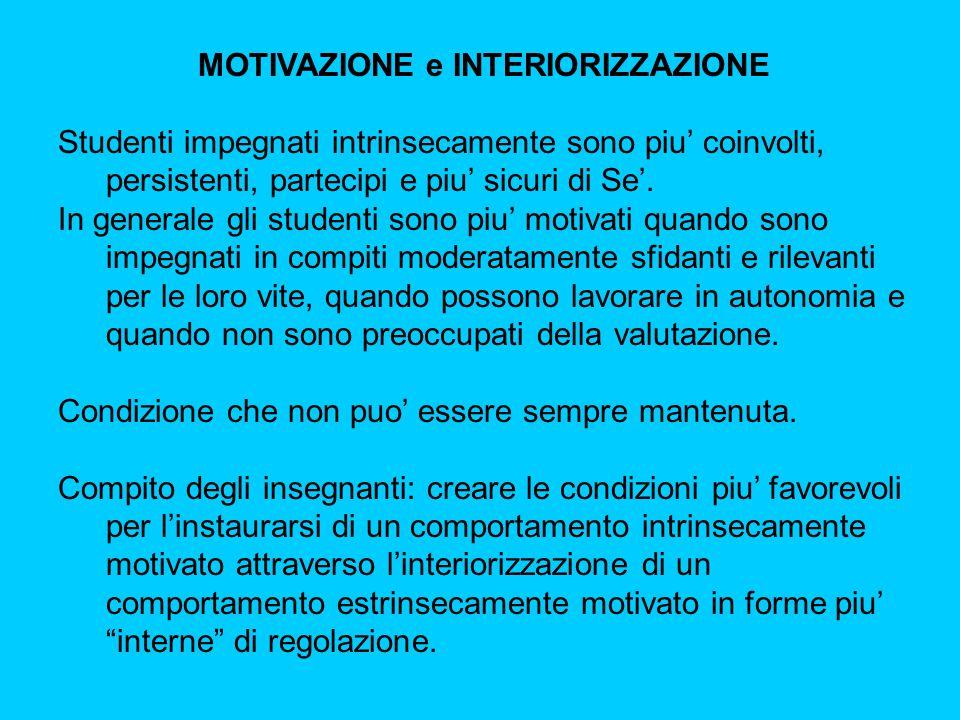 MOTIVAZIONE e INTERIORIZZAZIONE