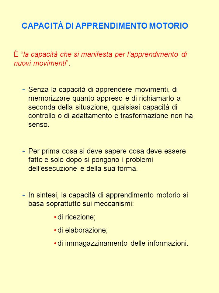 CAPACITÀ DI CONTROLLO MOTORIO