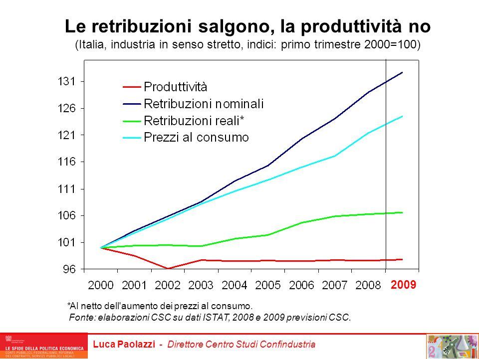 Le retribuzioni salgono, la produttività no