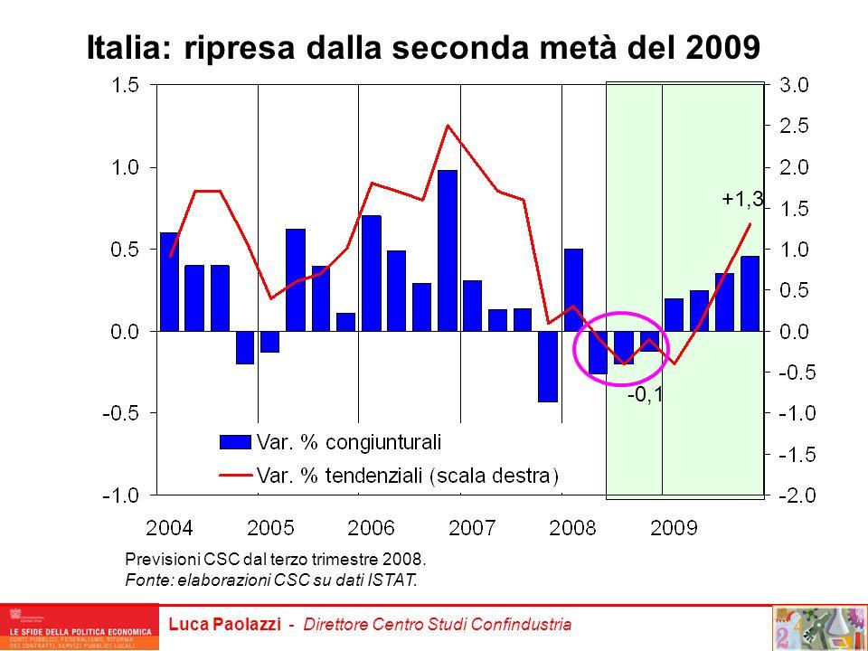 Italia: ripresa dalla seconda metà del 2009