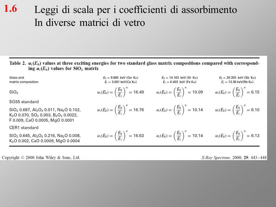 Leggi di scala per i coefficienti di assorbimento
