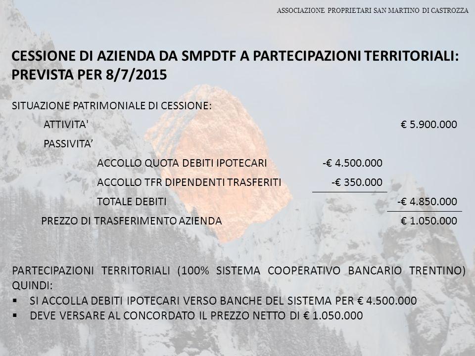 CESSIONE DI AZIENDA DA SMPDTF A PARTECIPAZIONI TERRITORIALI: