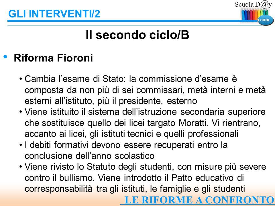 Il secondo ciclo/B GLI INTERVENTI/2 Riforma Fioroni