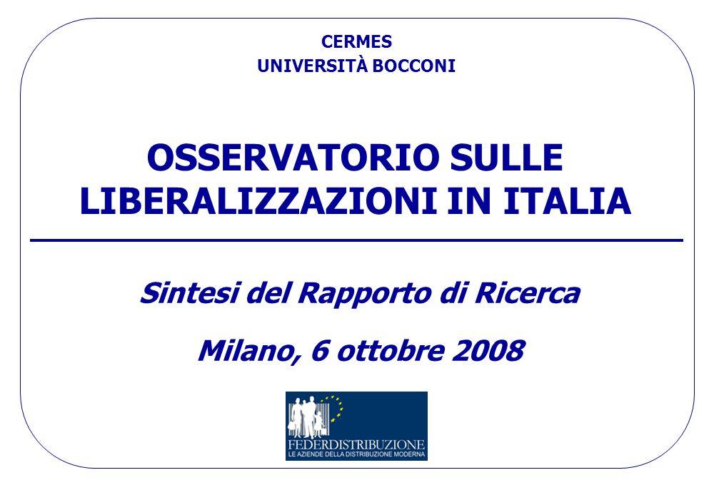 OSSERVATORIO SULLE LIBERALIZZAZIONI IN ITALIA