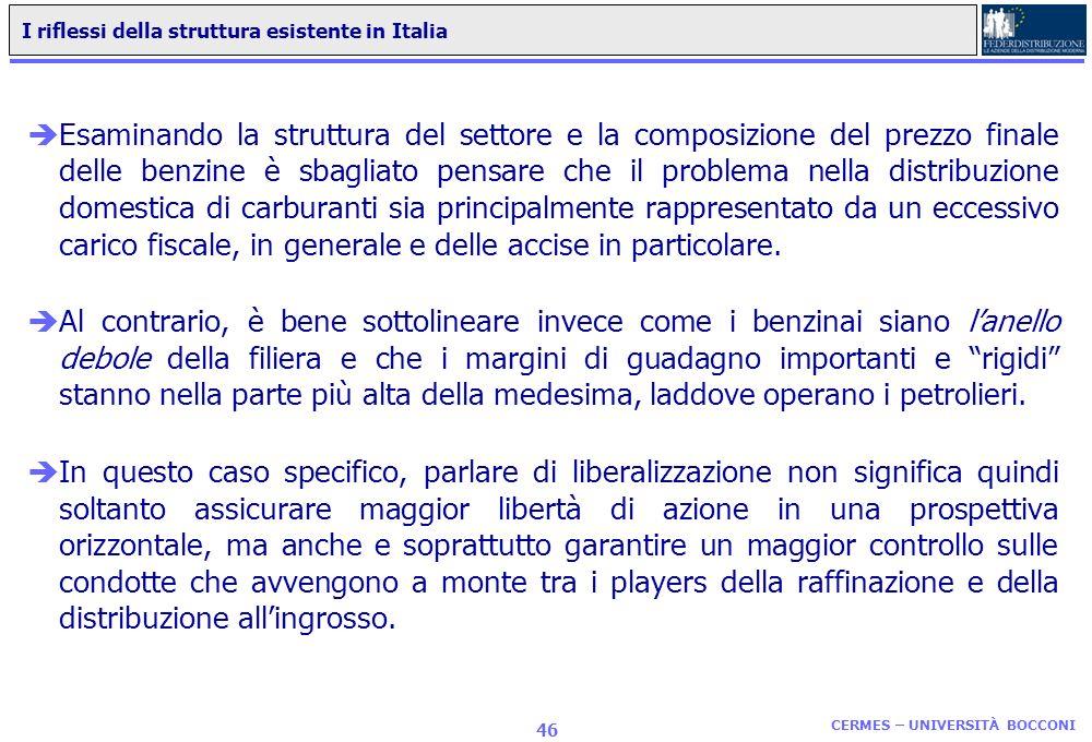I riflessi della struttura esistente in Italia