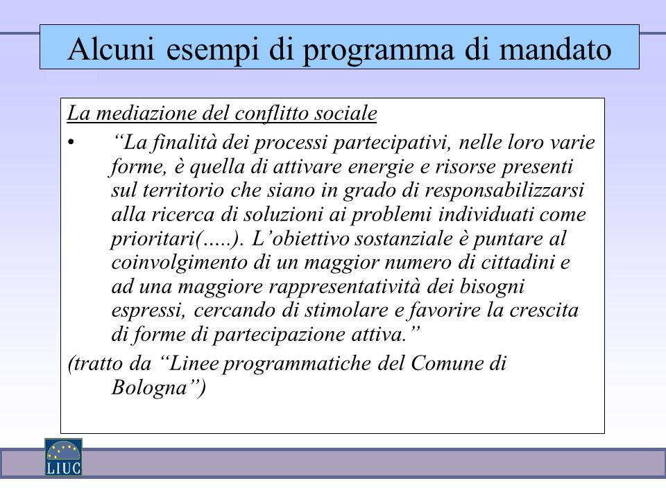 Alcuni esempi di programma di mandato