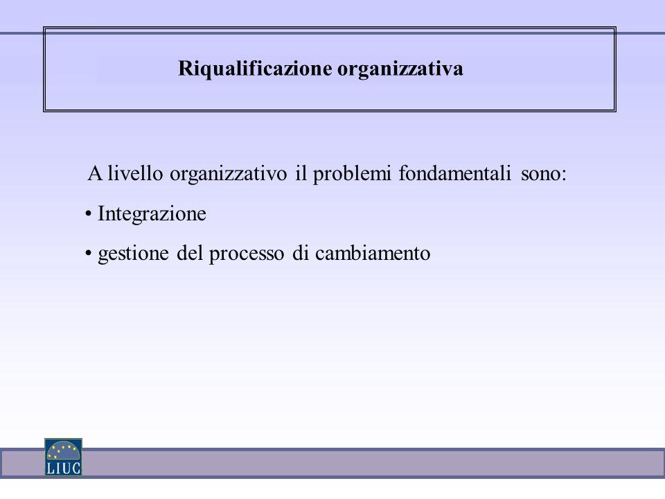 A livello organizzativo il problemi fondamentali sono: