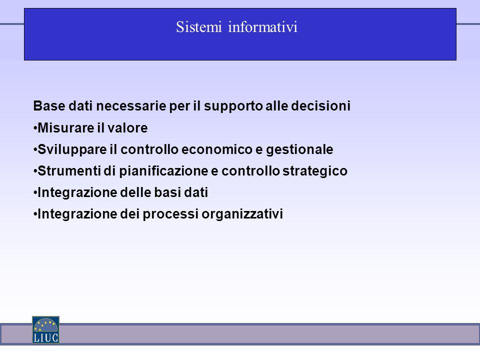 Sistemi informativi Base dati necessarie per il supporto alle decisioni. Misurare il valore. Sviluppare il controllo economico e gestionale.