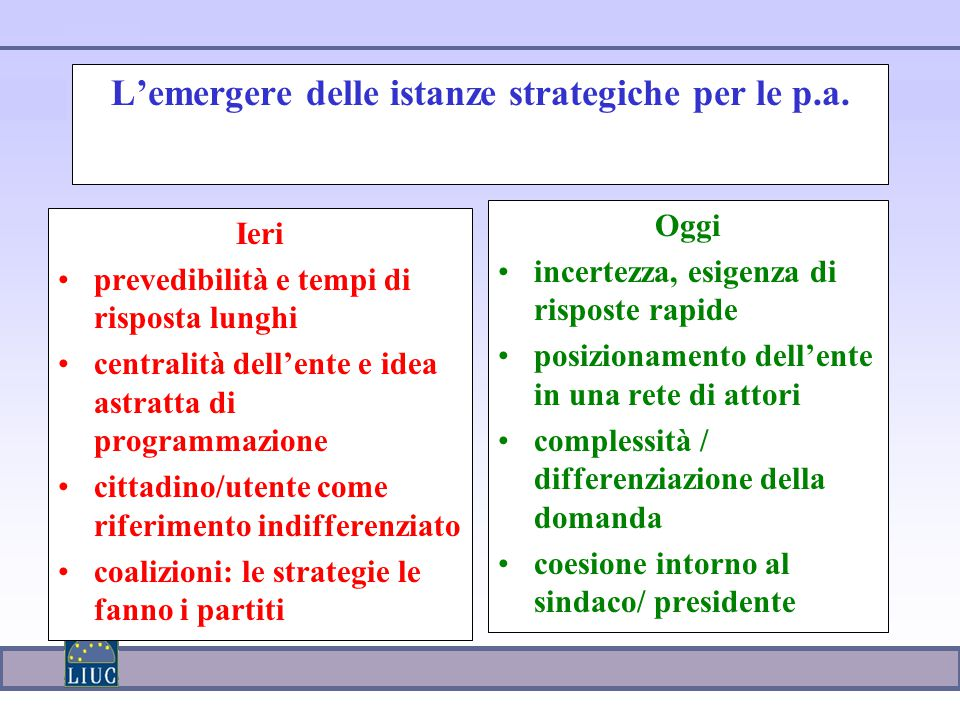 L'emergere delle istanze strategiche per le p.a.