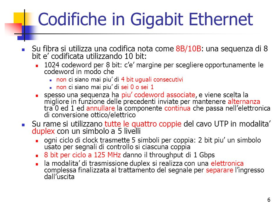 Codifiche in Gigabit Ethernet