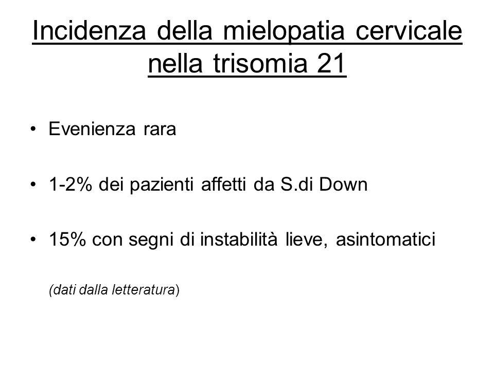 Incidenza della mielopatia cervicale nella trisomia 21