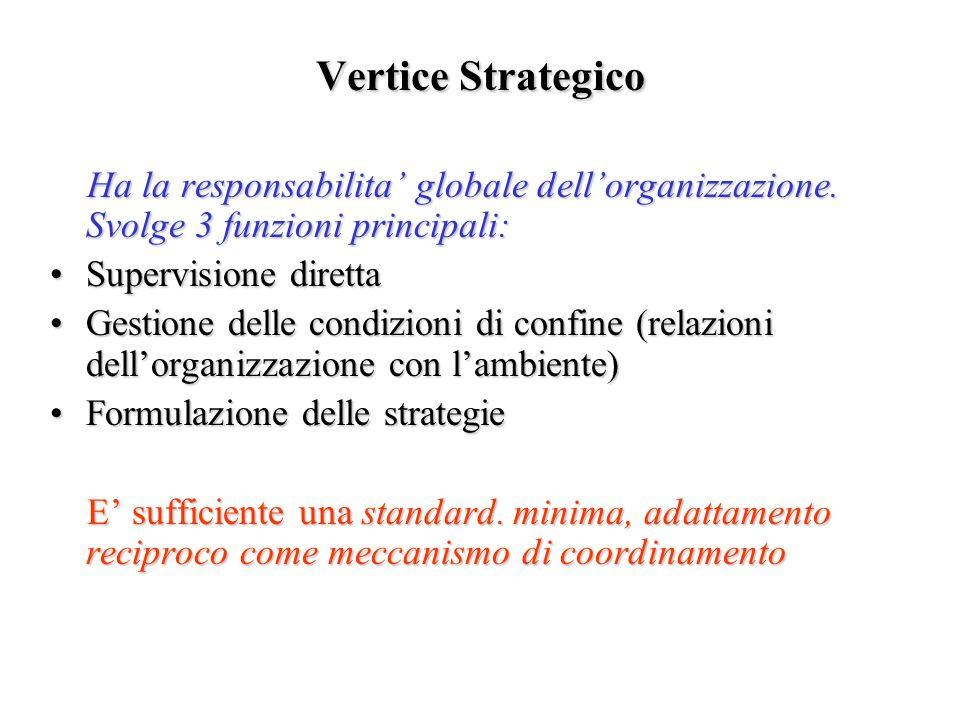 Vertice Strategico Ha la responsabilita' globale dell'organizzazione. Svolge 3 funzioni principali: