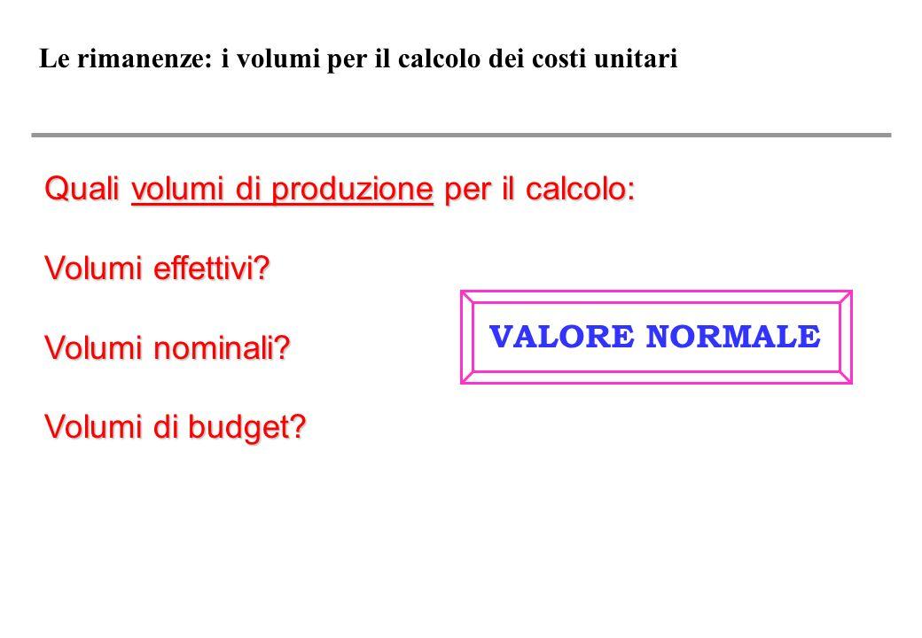 Le rimanenze: i volumi per il calcolo dei costi unitari