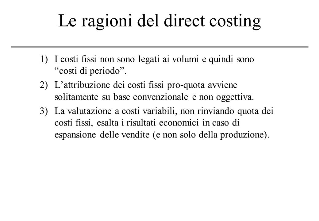 Le ragioni del direct costing