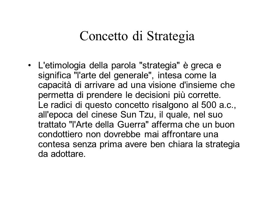 Concetto di Strategia