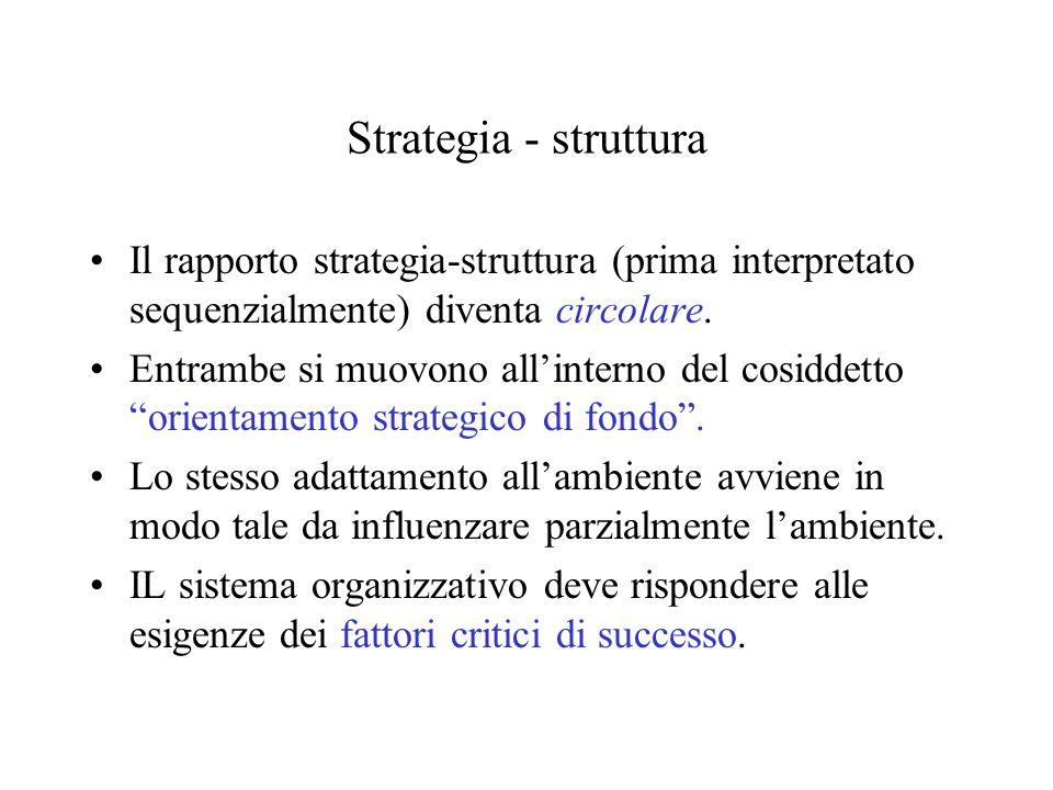 Strategia - strutturaIl rapporto strategia-struttura (prima interpretato sequenzialmente) diventa circolare.