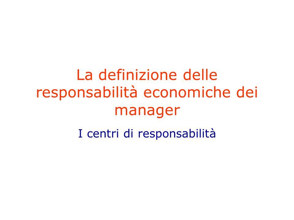 La definizione delle responsabilità economiche dei manager