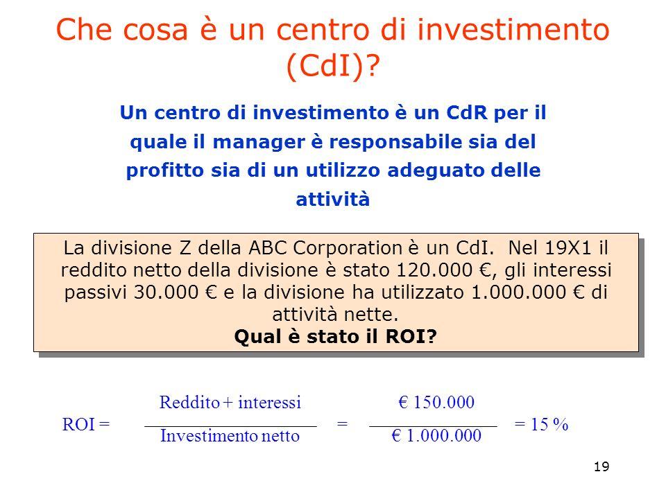 Che cosa è un centro di investimento (CdI)