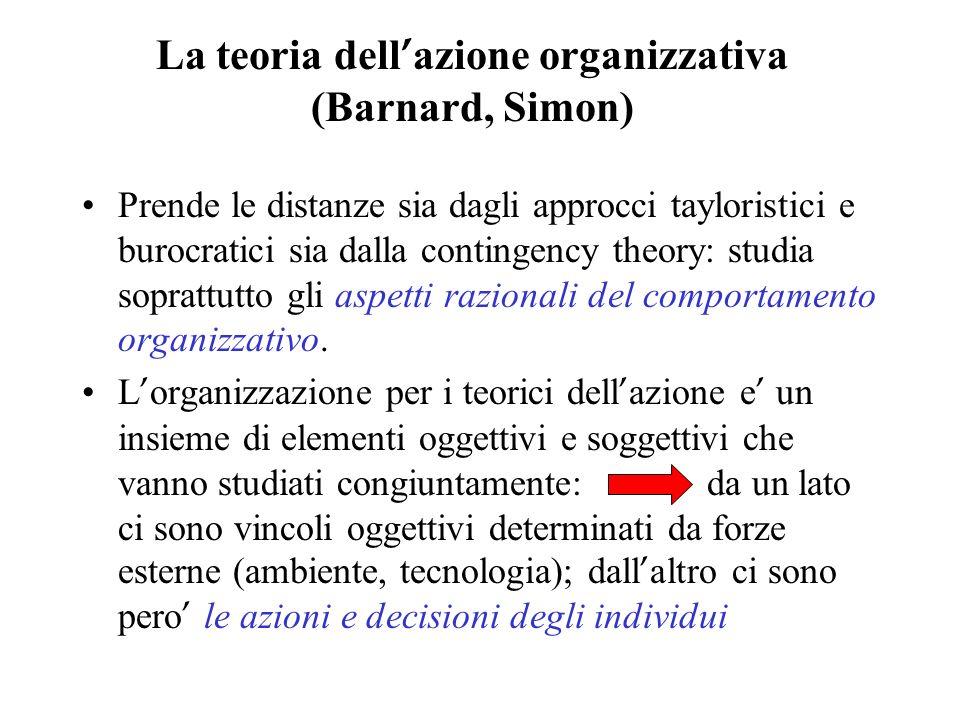 La teoria dell'azione organizzativa (Barnard, Simon)