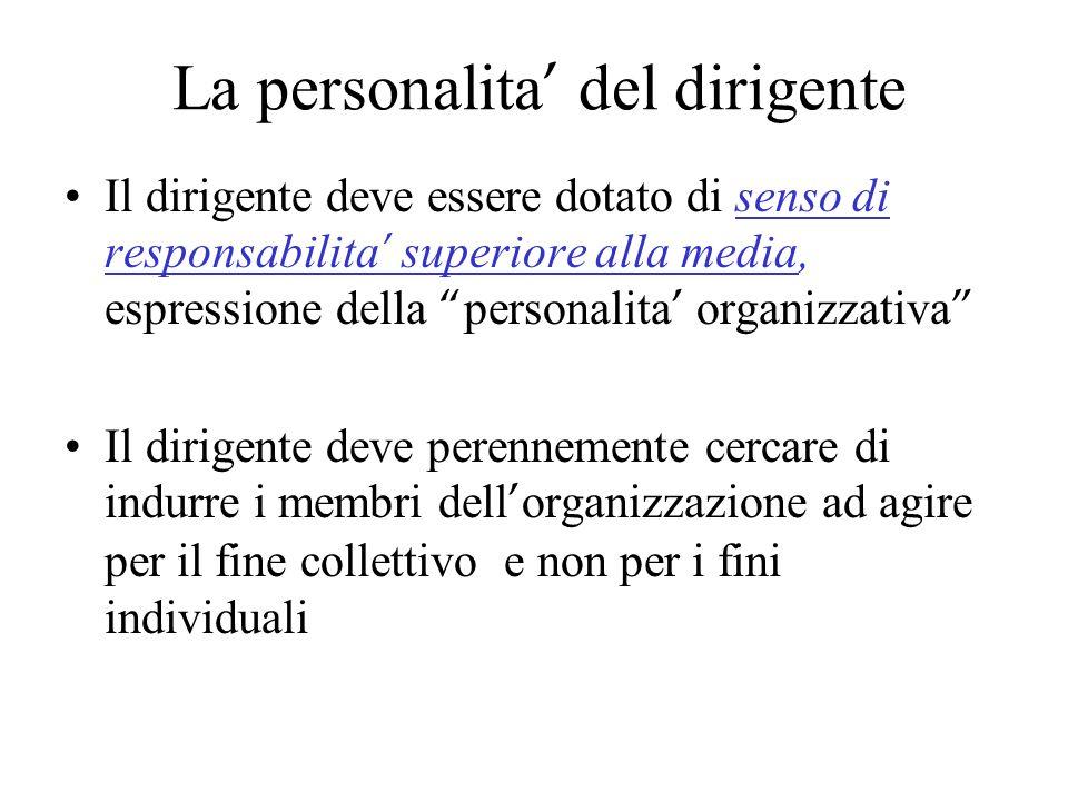 La personalita' del dirigente