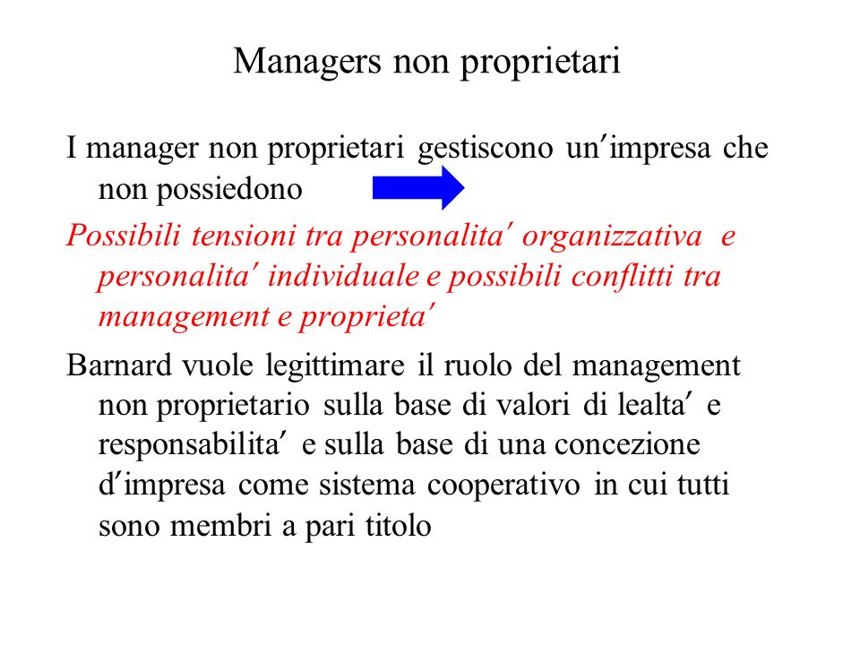 Managers non proprietari