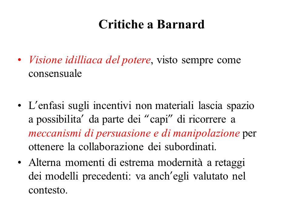 Critiche a Barnard Visione idilliaca del potere, visto sempre come consensuale.