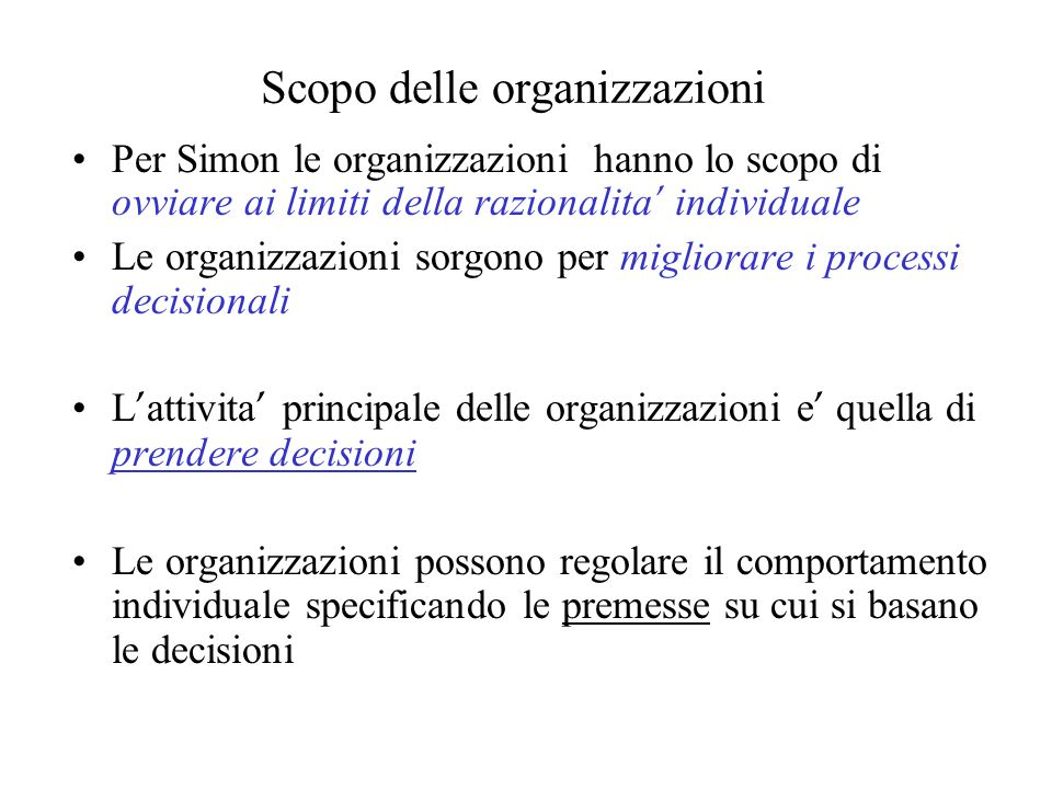 Scopo delle organizzazioni