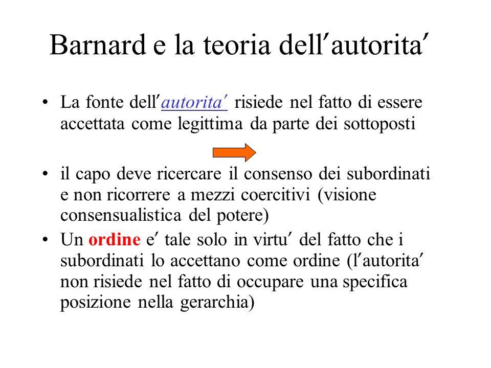 Barnard e la teoria dell'autorita'