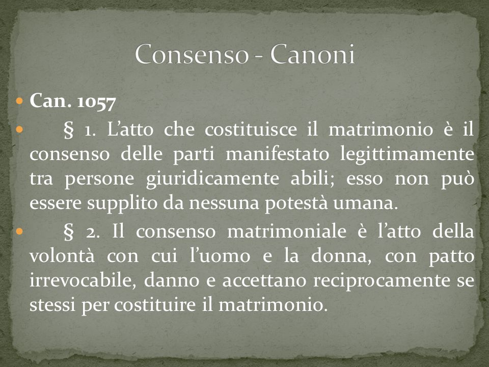 Consenso - Canoni Can. 1057.