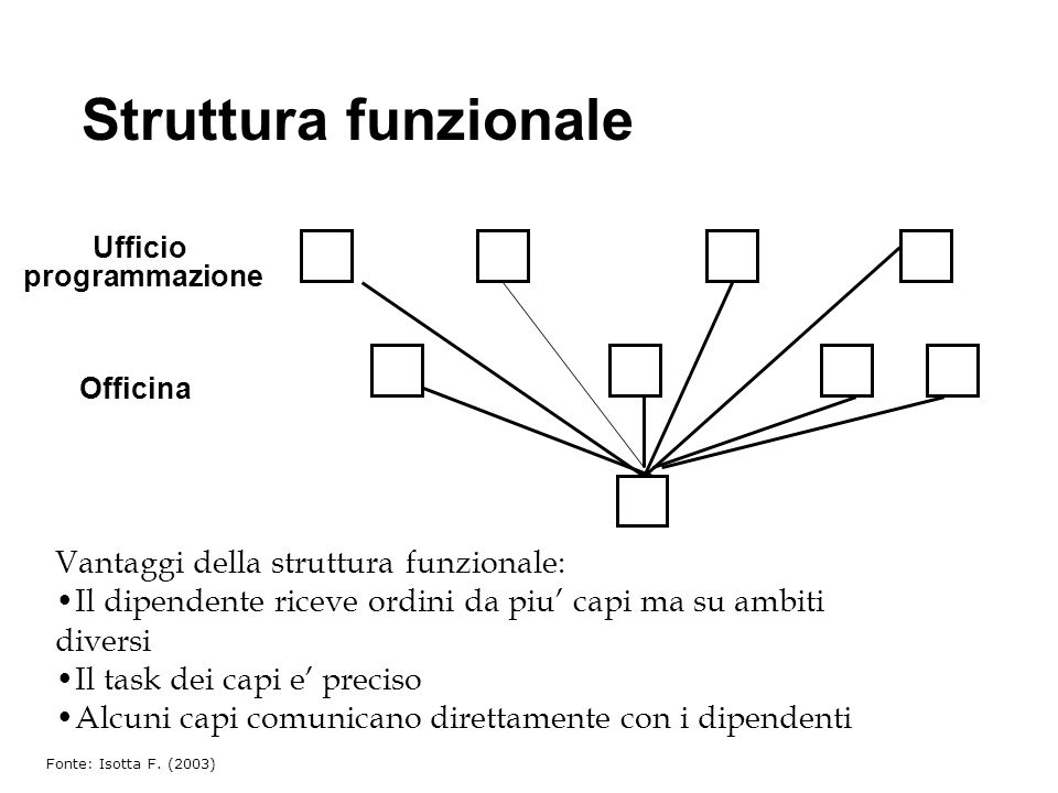 Struttura funzionale Vantaggi della struttura funzionale: