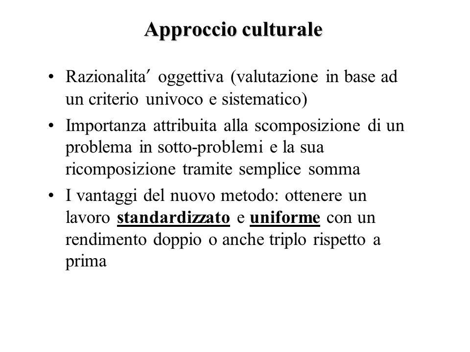 Approccio culturale Razionalita' oggettiva (valutazione in base ad un criterio univoco e sistematico)