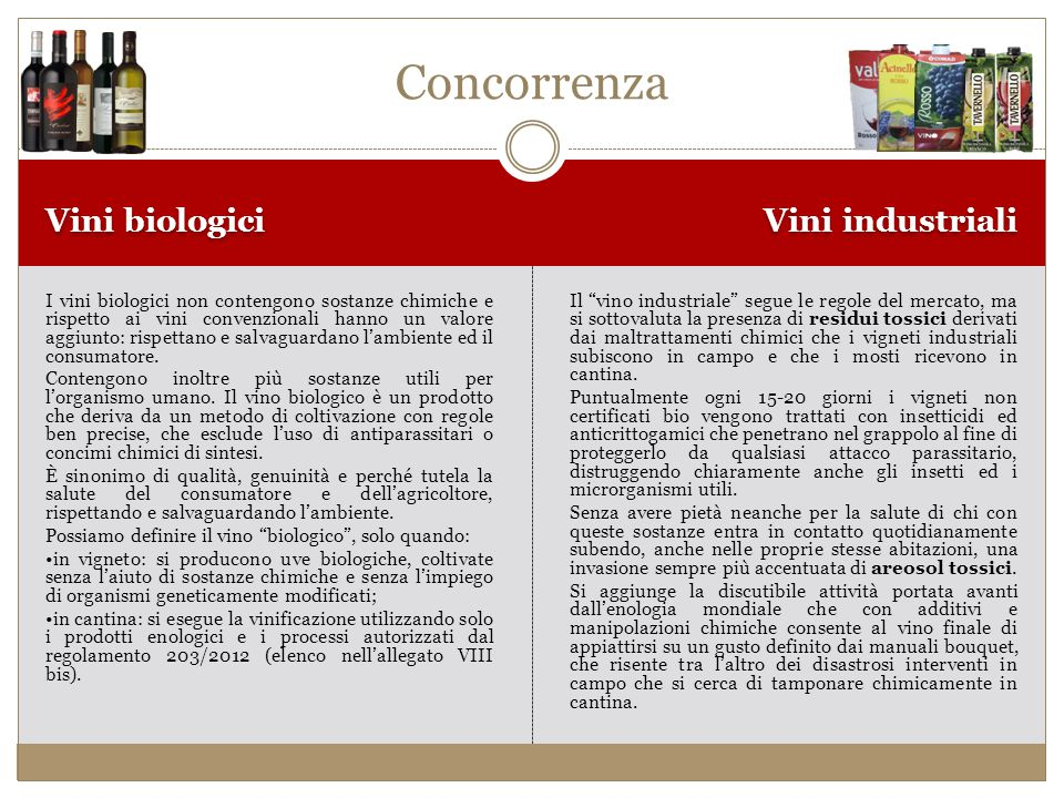 Concorrenza Vini biologici Vini industriali