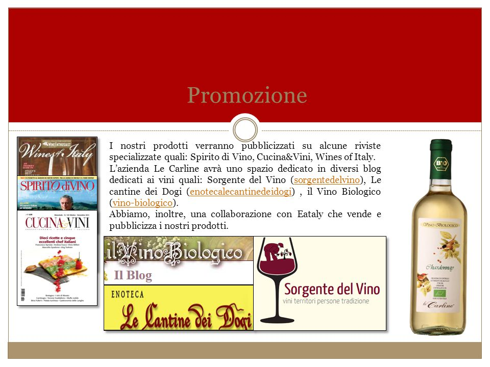 Promozione I nostri prodotti verranno pubblicizzati su alcune riviste specializzate quali: Spirito di Vino, Cucina&Vini, Wines of Italy.
