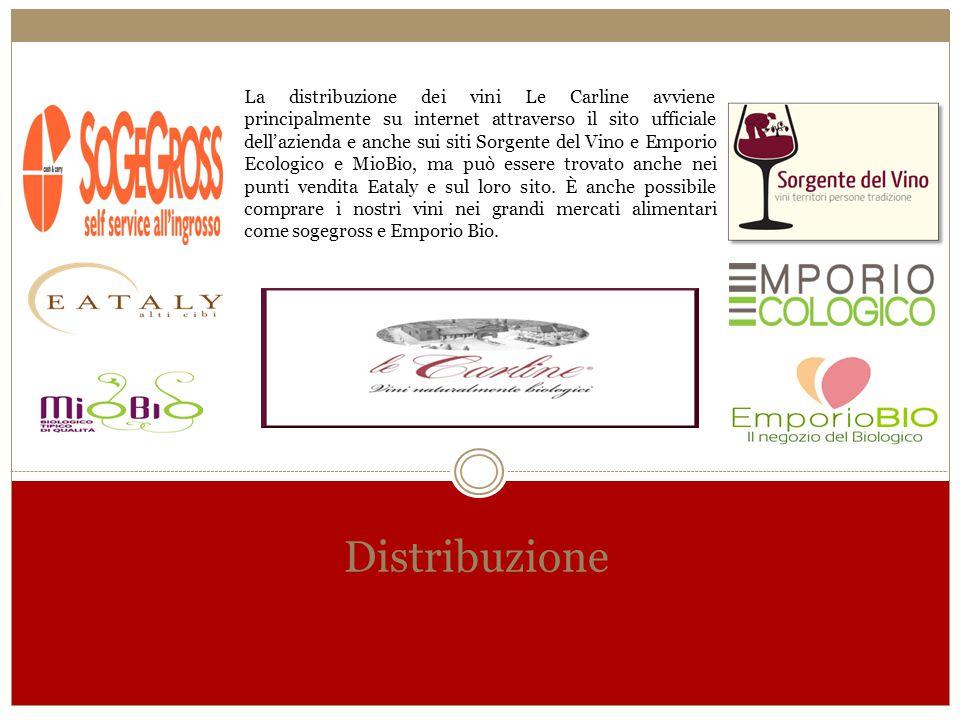 La distribuzione dei vini Le Carline avviene principalmente su internet attraverso il sito ufficiale dell'azienda e anche sui siti Sorgente del Vino e Emporio Ecologico e MioBio, ma può essere trovato anche nei punti vendita Eataly e sul loro sito. È anche possibile comprare i nostri vini nei grandi mercati alimentari come sogegross e Emporio Bio.