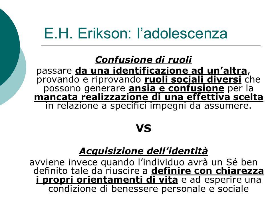 E.H. Erikson: l'adolescenza