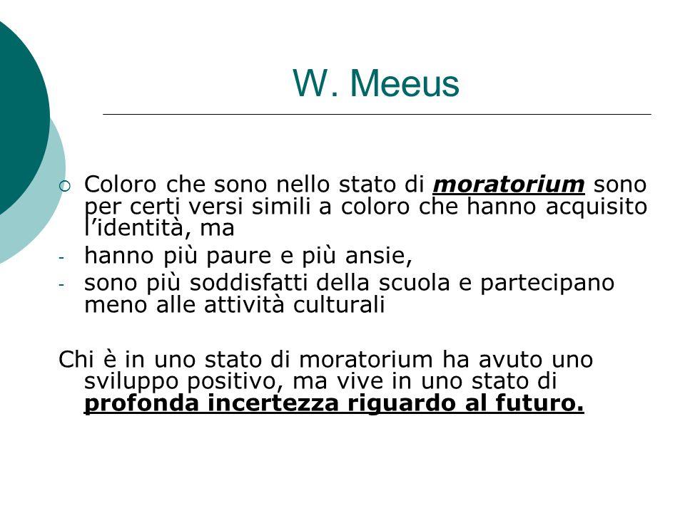 W. Meeus Coloro che sono nello stato di moratorium sono per certi versi simili a coloro che hanno acquisito l'identità, ma.