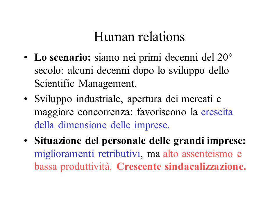 Human relations Lo scenario: siamo nei primi decenni del 20° secolo: alcuni decenni dopo lo sviluppo dello Scientific Management.