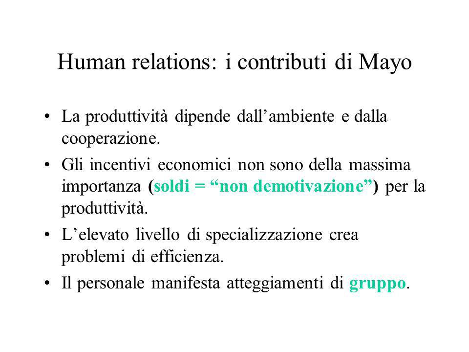 Human relations: i contributi di Mayo