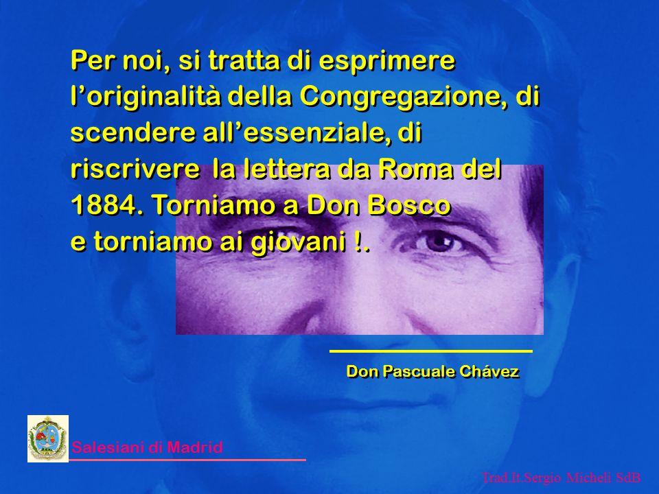 Per noi, si tratta di esprimere l'originalità della Congregazione, di scendere all'essenziale, di riscrivere la lettera da Roma del 1884. Torniamo a Don Bosco