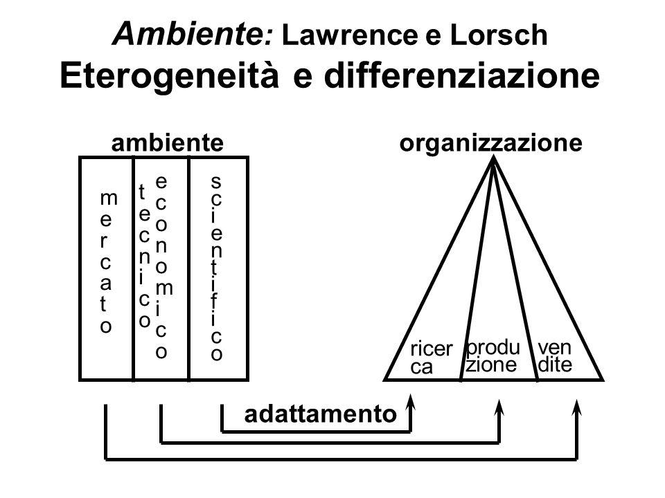 Ambiente: Lawrence e Lorsch Eterogeneità e differenziazione